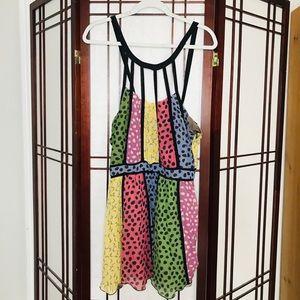Multi-Color Halter Top Synch Waist Mini Dress